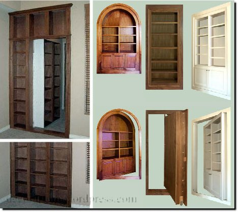 Примеры скрытых и потайных дверей.