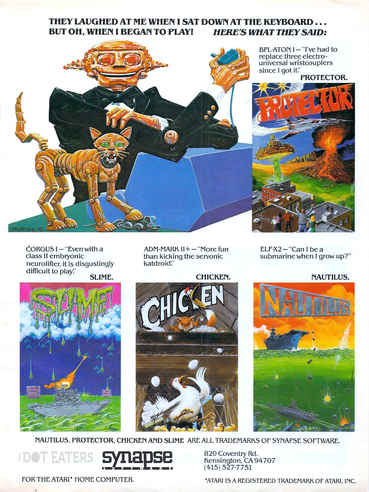 Great artwork in these Synapse ads, from Tim Boxell (1982