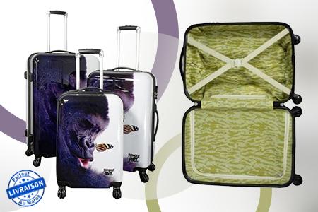 redonnez confort et style vos voyages avec ce set de 3 valises jungle arts gorille 1999 dh. Black Bedroom Furniture Sets. Home Design Ideas