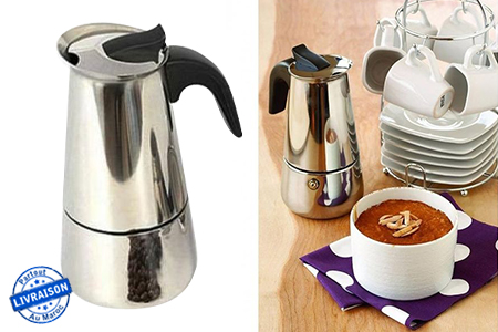savourez votre caf en famille avec cette cafeti re italienne en acier inoxydable 4 tasses 79. Black Bedroom Furniture Sets. Home Design Ideas