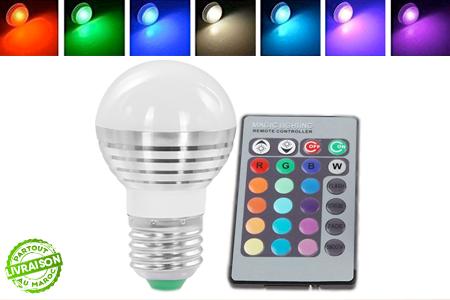 gaillez de couleurs vos soir es avec cette ampoule led multicolore 16 couleurs t l commande. Black Bedroom Furniture Sets. Home Design Ideas