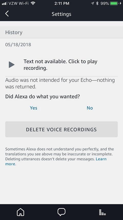 En la aplicación Amazon Alexa (la versión de iOS se muestra aquí), puede escuchar y eliminar grabaciones individuales. Al presionar el botón Atrás, accederá al más reciente de la lista.