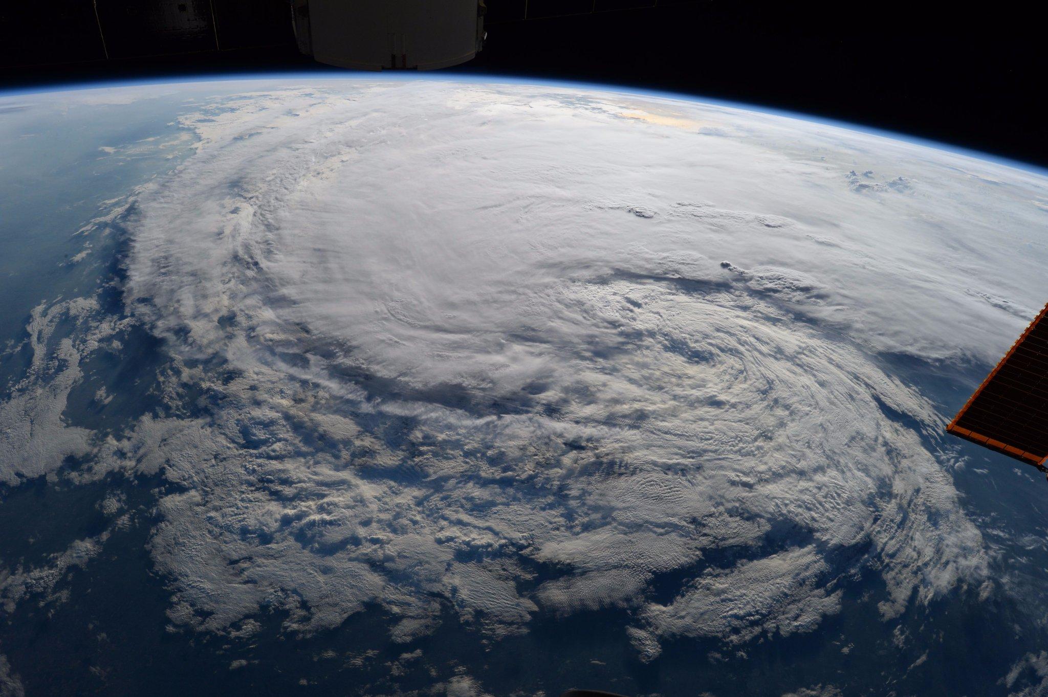 La vista del huracán Harvey desde la Estación Espacial Internacional.