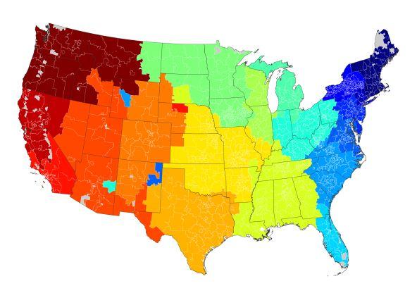 Este mapa de los EE. UU. Muestra cómo los usuarios en línea tienden a enviar mensajes a las personas que viven en aproximadamente la misma región, lo que tiene sentido.