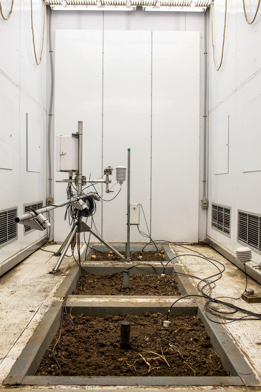 Dentro de cámaras de crecimiento como esta, las plantas se cultivarán en condiciones simuladas.