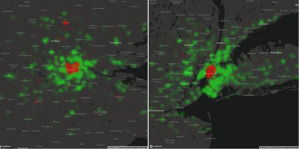 Cambio en el uso de internet en Londres (izquierda) y Nueva York (derecha) entre el miércoles 19 de febrero y el miércoles 18 de marzo. El rojo muestra una disminución en el tráfico, el verde muestra un aumento.