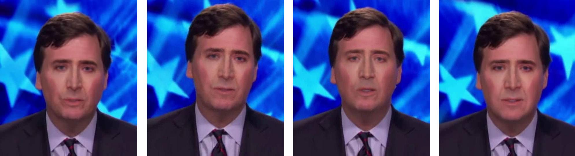 Tucker Carlson tiene su propio maquillaje de Nicolas Cage.