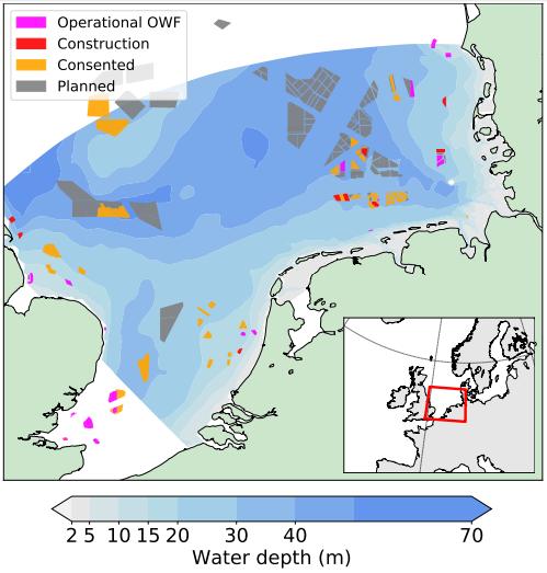 La geografía de los parques eólicos offshore en el Mar del Norte.