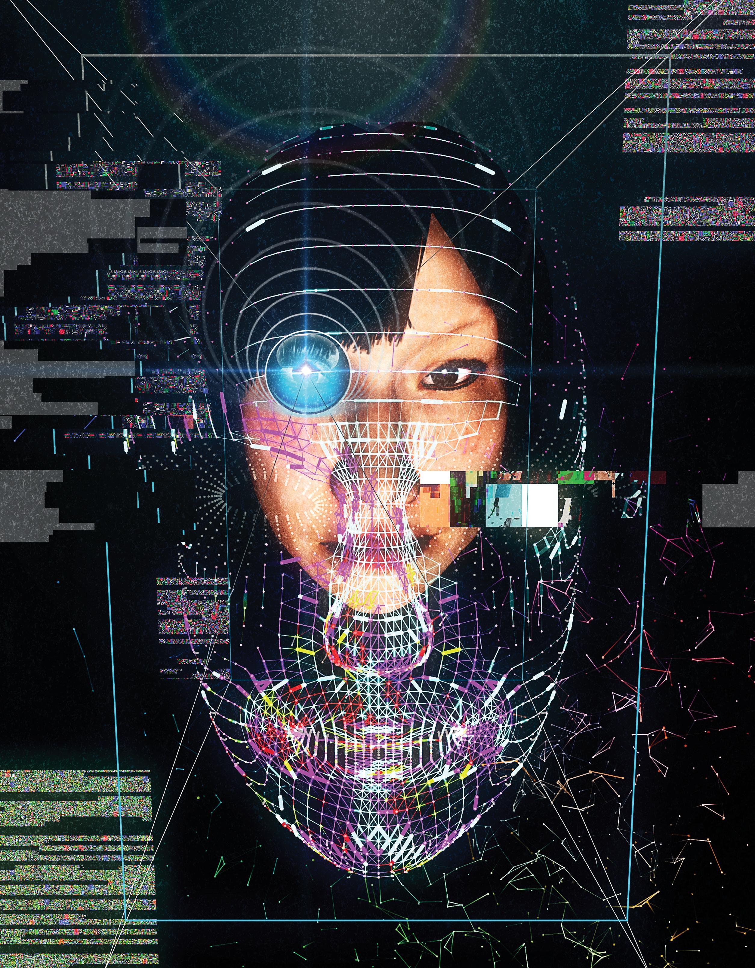 """<b> <a href=""""https://www.technologyreview.com/s/603494/10-breakthrough-technologies-2017-paying-with-your-face/""""> Pagar con la cara </a> </ b> <br> Ilustración por Yoshi Sodeoka"""