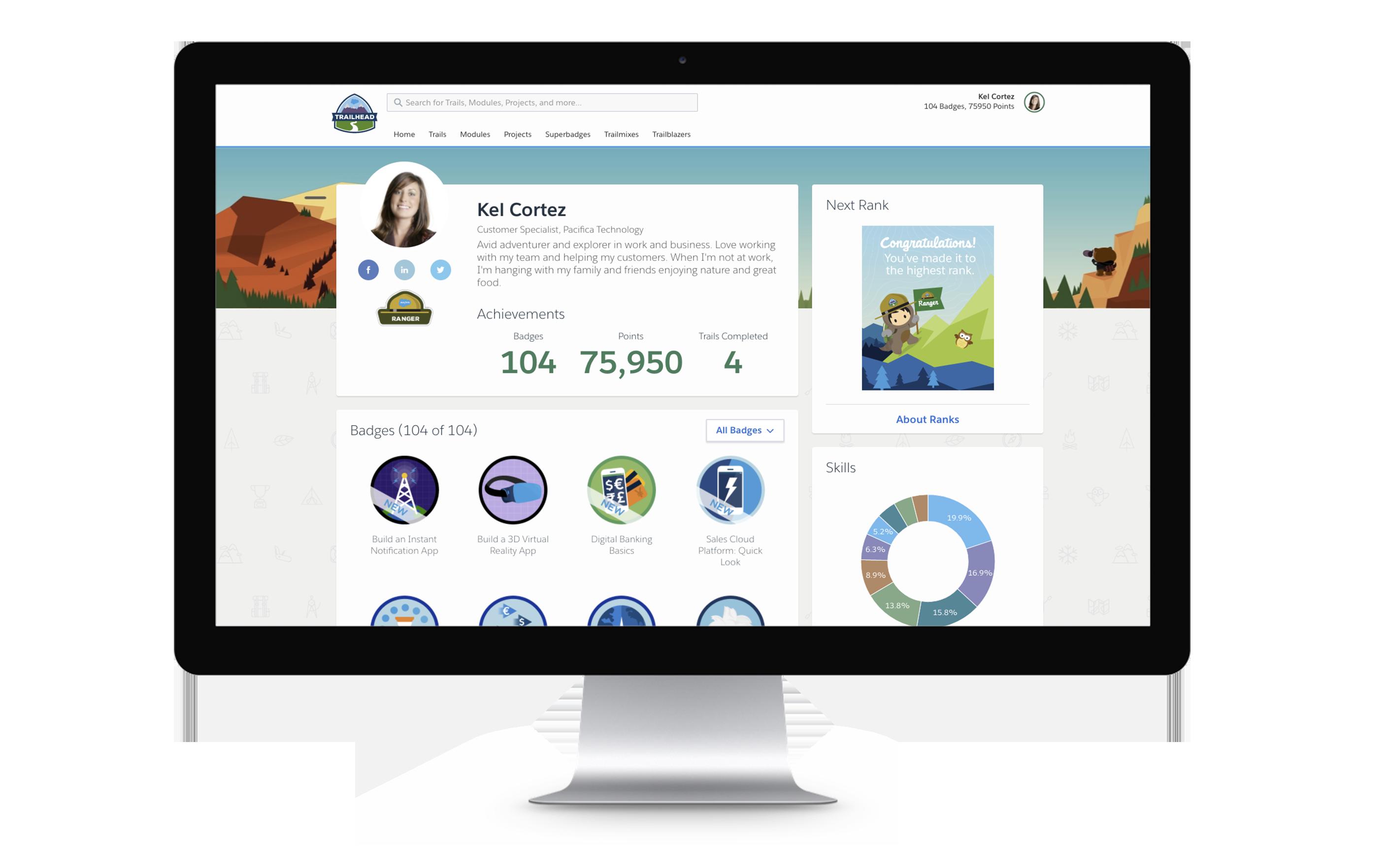 Los usuarios de Trailhead crean perfiles que muestran insignias, puntos y habilidades que han adquirido al completar lecciones en línea.