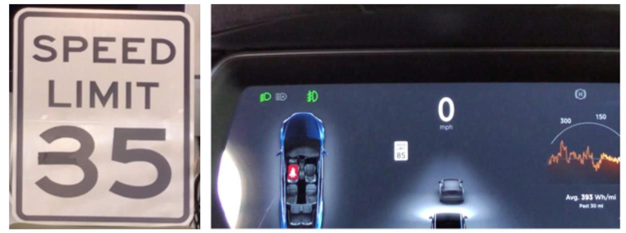 El signo de límite de velocidad modificado se lee como 85 en el Tesla