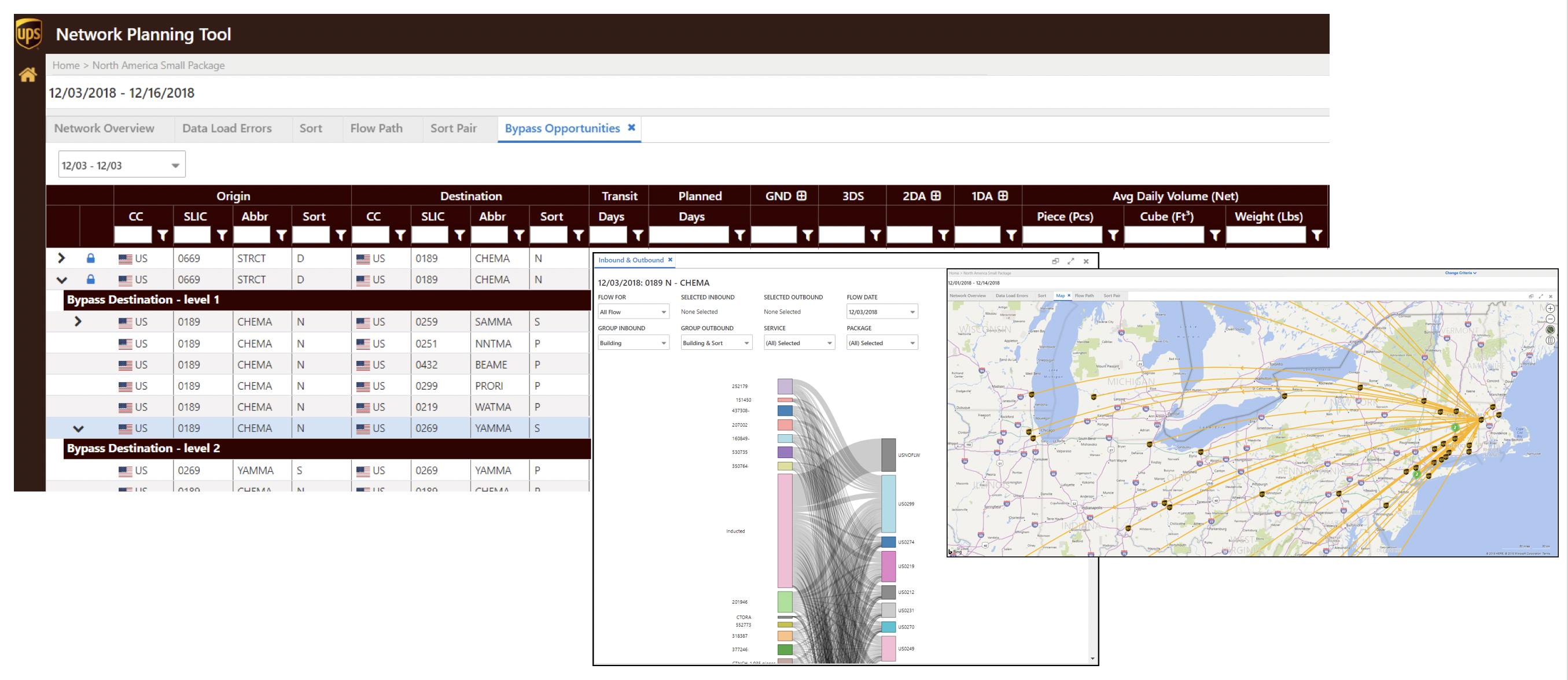 Esta herramienta dentro de la aplicación NPT permite a los usuarios redireccionar paquetes entre las instalaciones de UPS.