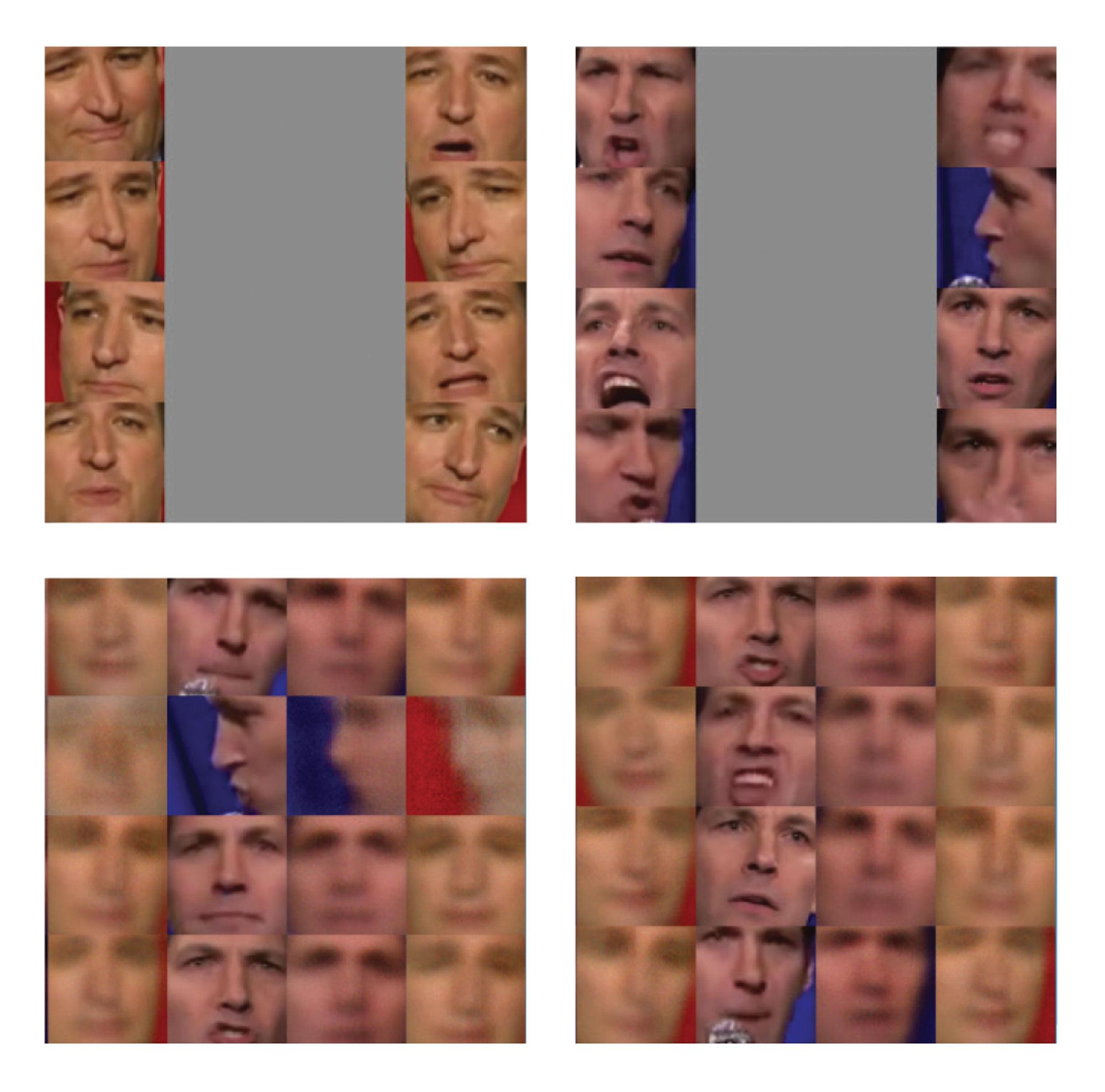 Izquierda: las vistas previas de OpenFaceSwap intentaron intercambios de caras durante el entrenamiento. Los primeros intentos a menudo pueden ser un poco extraños y grotescos. <br> <br> Derecha: El software tarda varias horas en producir un buen intercambio de rostros. Cuantos más datos de entrenamiento, mejor será el resultado final.