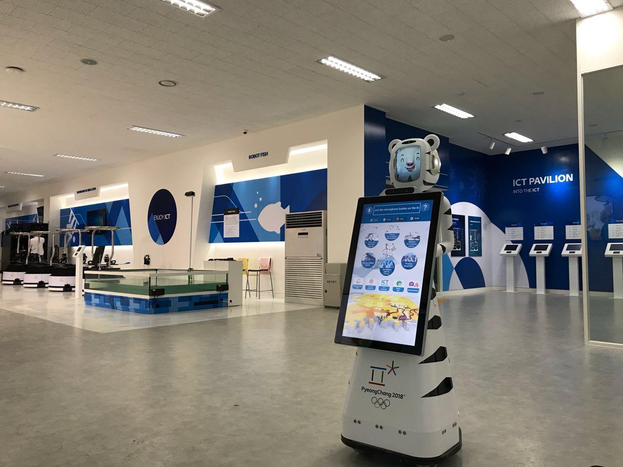Este robot, que tiene la forma de una de las mascotas olímpicas, traduce entre coreano y otros idiomas.