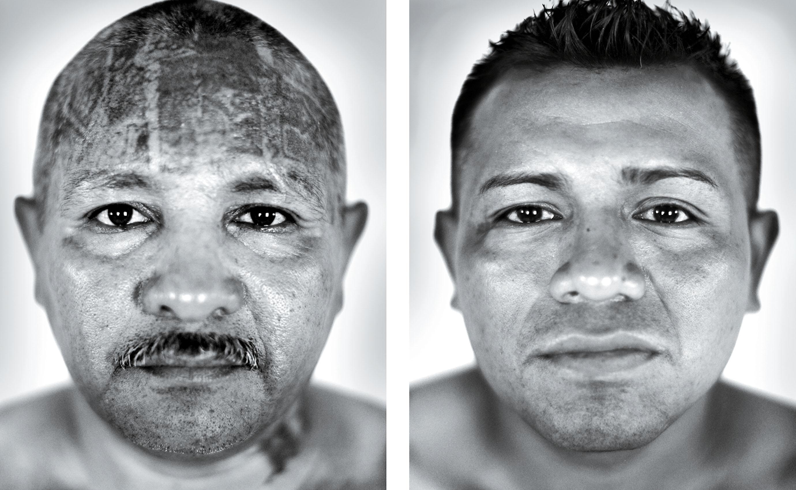 Amilcar Vladimir (izquierda) y Jorge Alberto (derecha) son miembros de bandas en conflicto en El Salvador.