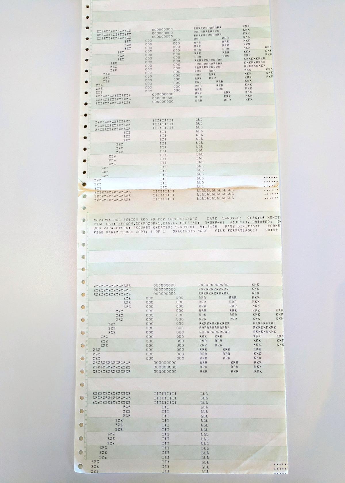 Una copia impresa del código fuente del juego desde noviembre de 1981. La versión original de Zork fue escrita en un mainframe PDP-10 de Digital Equipment Corporation que tenía un sistema operativo llamado ITS y un lenguaje de programación llamado MDL, ambos desarrollados en MIT. Las versiones comerciales del juego fueron escritas en un lenguaje de programación llamado Zork Implementation Language (ZIL) que funcionaba dentro de una máquina virtual encima de ordenadores personales.