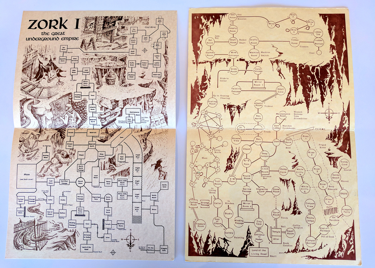 Al darse cuenta de que los jugadores de Zork querían -y pagarían por-accesorios como mapas, Infocom comenzó a vender mercancía de juego, que entregó por correo. En octubre de 1981, un graduado del MIT nombrado Mike Dornbrook asumió el control ese negocio como parte de una compañía que él llamó el grupo de los usuarios de Zork. Estos mapas datan de 1981 y 1982.
