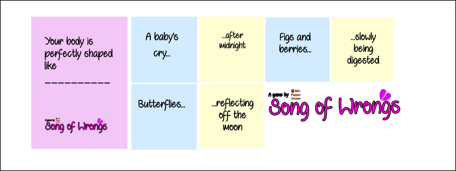 Song Of Wrongs An Awkward Poem Generator Click on any of the poetry forms below to create that type of poetry. the game crafter