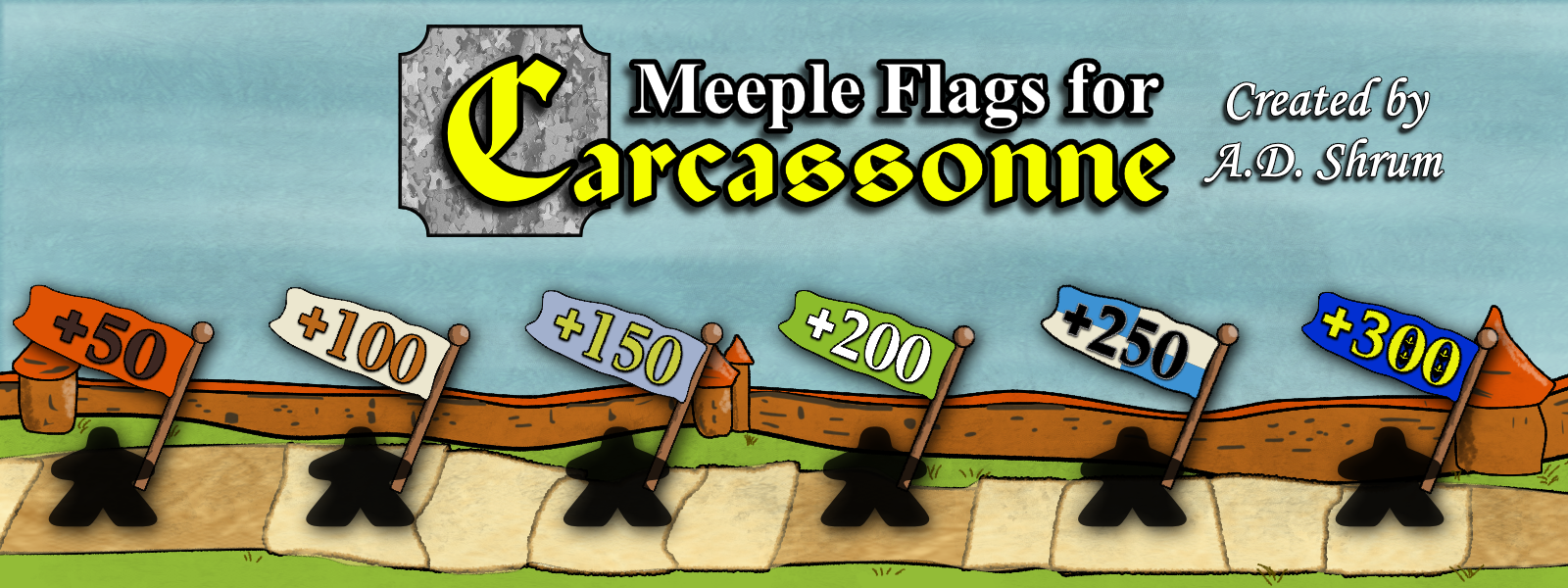 Meeple Flags for Carcassonne