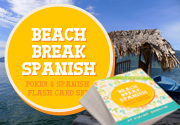 Ad for Beach Break Spanish MINI - Poker and Spanish Flash Card Set