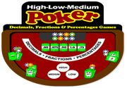Ad for High-Low-Medium Poker (Decimals Fractions & Percentages)
