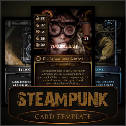 steampunk card game template