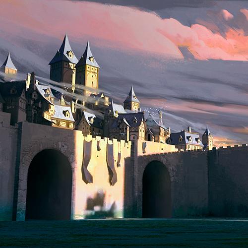 Fantasy town illustration