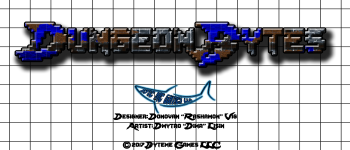 "Dungeon Bytes:  Classic Dungeon 1""x2"" single set Logo"