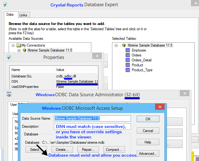 Screenshot of Crystal Reports Database Expert and Windows 32-bit ODBC Database Administrator