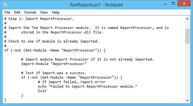 Loading The Report Processor Modules