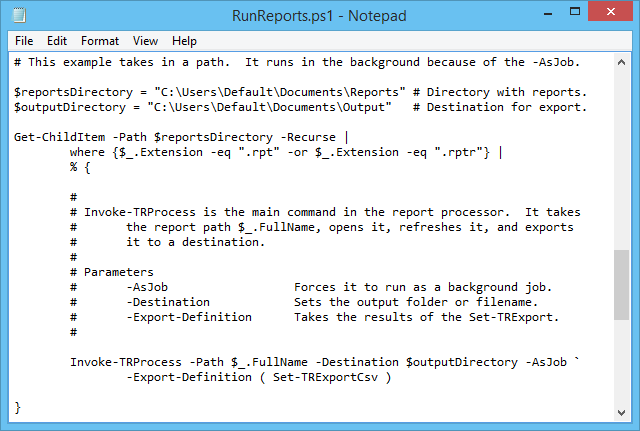Example script to process reports.