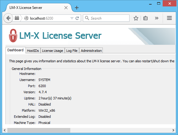 License Server Screenshot