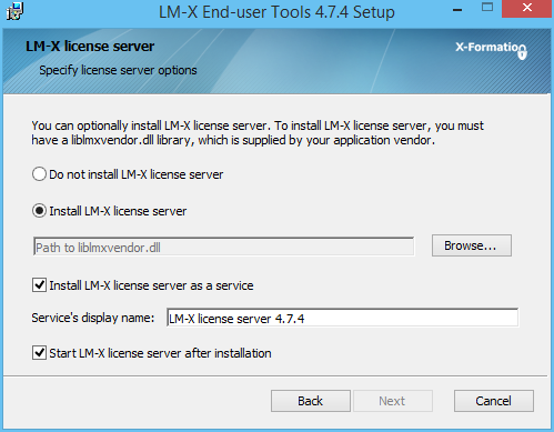 License Server Installer Screen