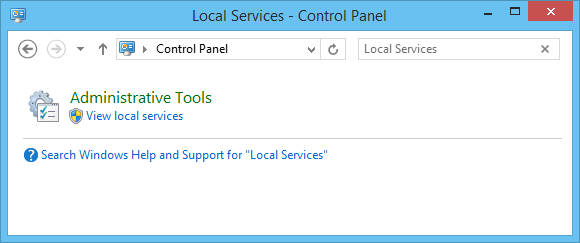 Search Windows Control Panel for Local Services