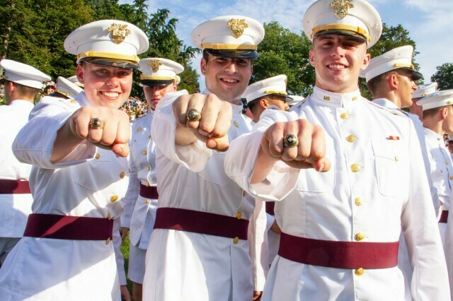 Members of the U.S. Military Academy Class of 2022 show off their rings