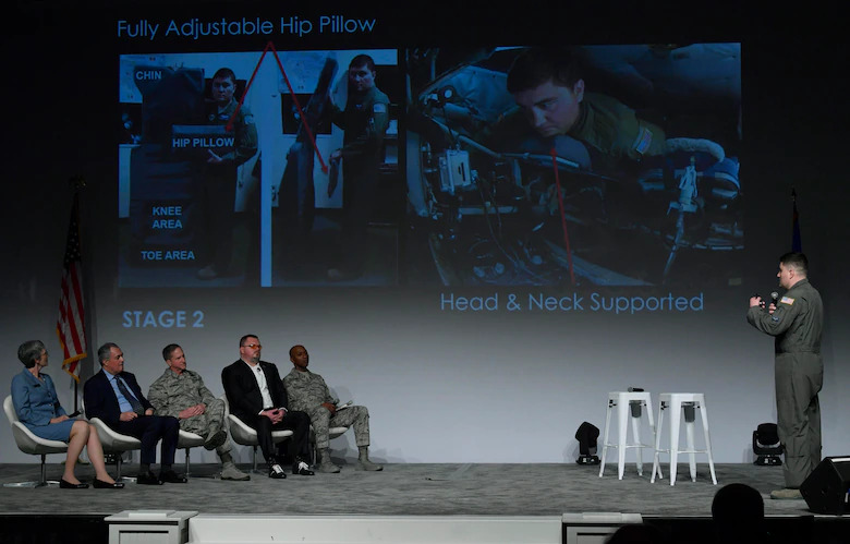 Master Sgt. Bachleda briefs his idea to the Spark Tank panel