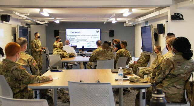 ROTC cadets pay attention during a cyber workshop class