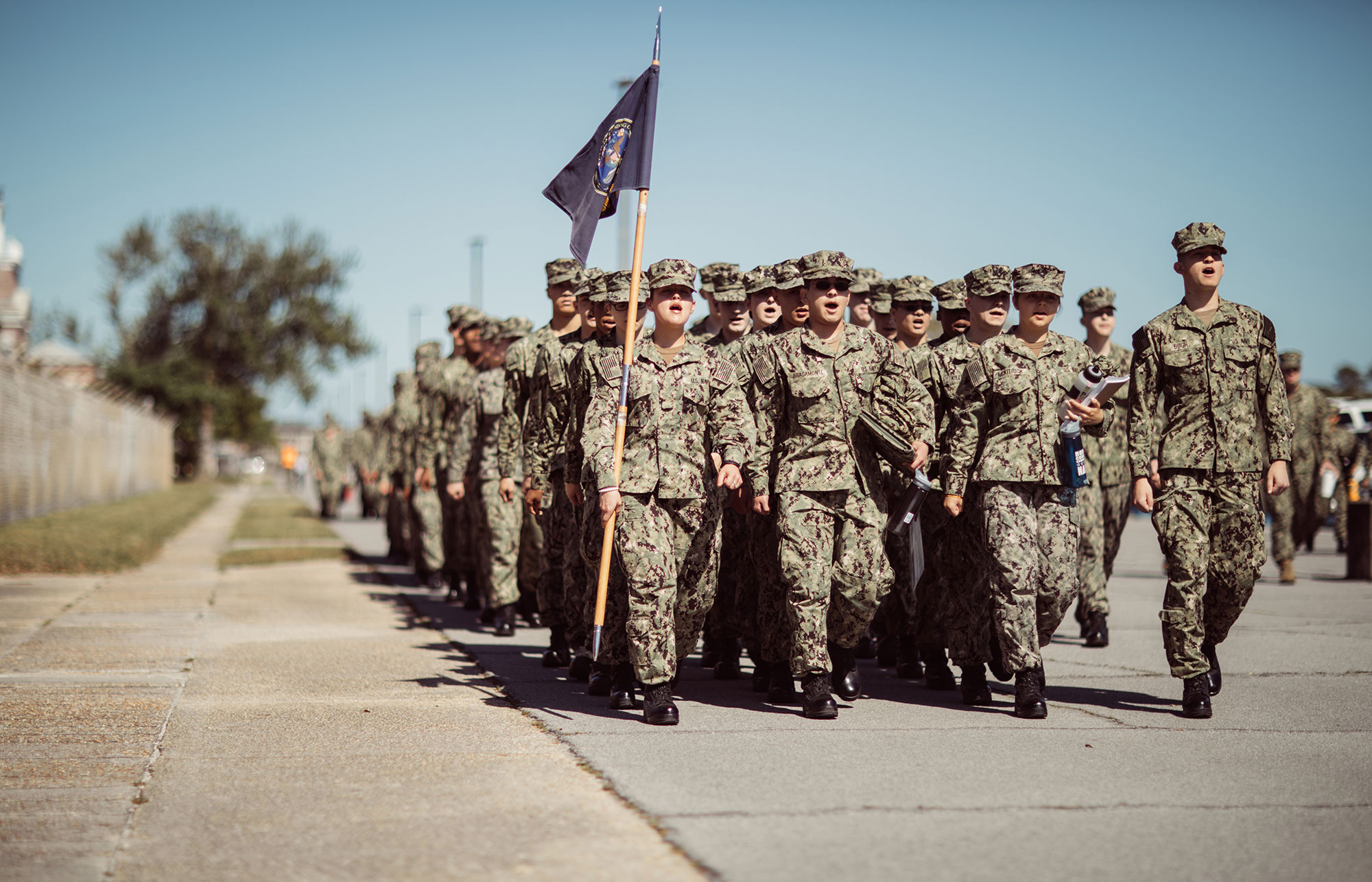 Members of the US Navy at the boot camp at Corry Station in Pensacola, Florida