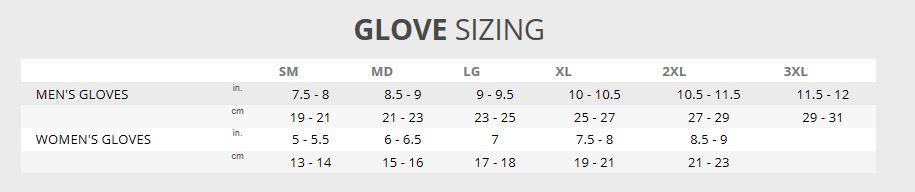 Klim Glove Size Chart