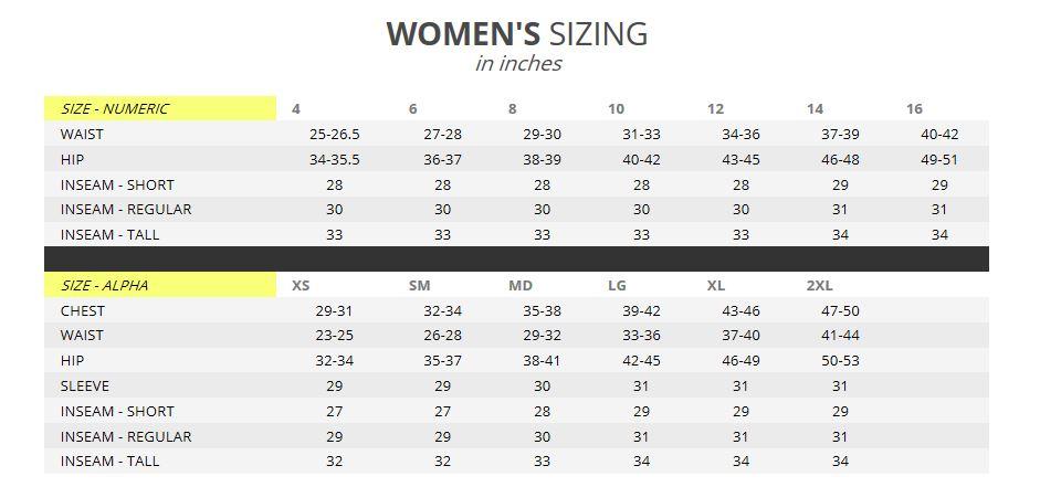 Klim Womens Size Chart