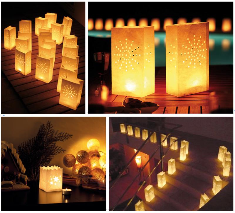 Les photophores lampions lanternes en papier pour bougie - Grand photophore jardin ...