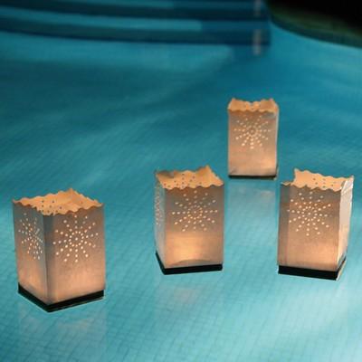 Le pack de 4 lanternes photophores flottantes en papier - Lanterne en papier ...