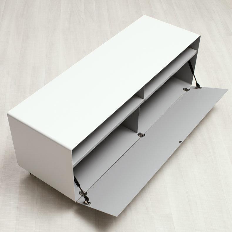 Grand meuble tv buffet avec porte mobile line r109n - Meuble avec table rabattable ...