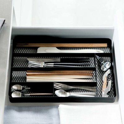 cheap rangement pour tiroir bureau ou cuisine en acier maill noir tower par yamazaki japon with. Black Bedroom Furniture Sets. Home Design Ideas
