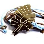 Bracelet Tête d'Indien Grand modèle en argent sur lien bleu ciel/taupe par L by l'avare pour Comptoir des Filles