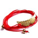 Bracelet Ailes d'Ange en vermeil jaune sur lien rouge corail par L by l'avare pour Comptoir des Filles