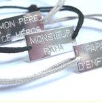 Bracelets Papa en Argent massif sur lien noir ou beige clair par L by l'avare pour Comptoir des Filles