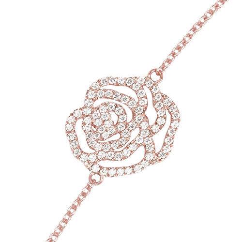 Bracelet Rose en or rose et pavage diamants blancs par Vanessa  Tugendhaft pour Comptoir des Filles