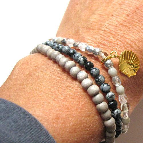 Bracelet 3 Tours Bois et Cristal avec Charm Argent ou Vermeil Millésime 32 EUR Comptoir  # Gris Montaigne Ou Bois D Argent