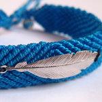 Bracelet Brésilien Bleu Turquoise avec Plume en Argent par L by l'avare pour Comptoir des Filles